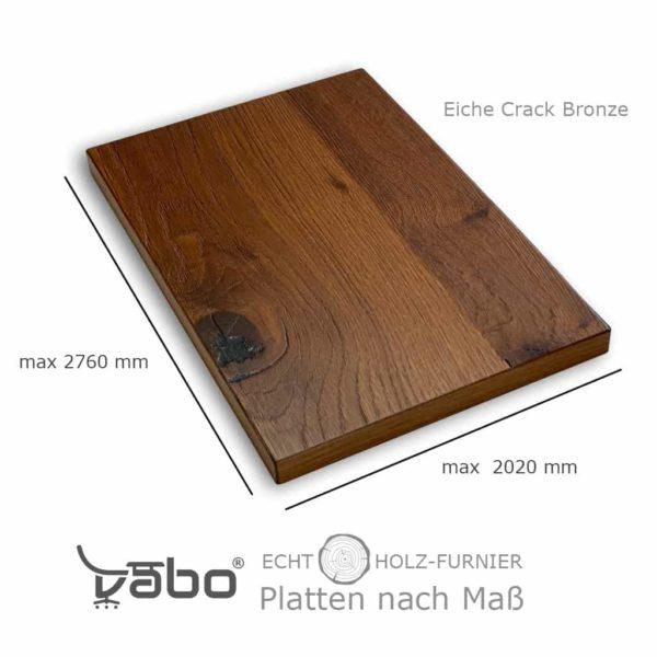 echtholz platte maß eiche crack bronze