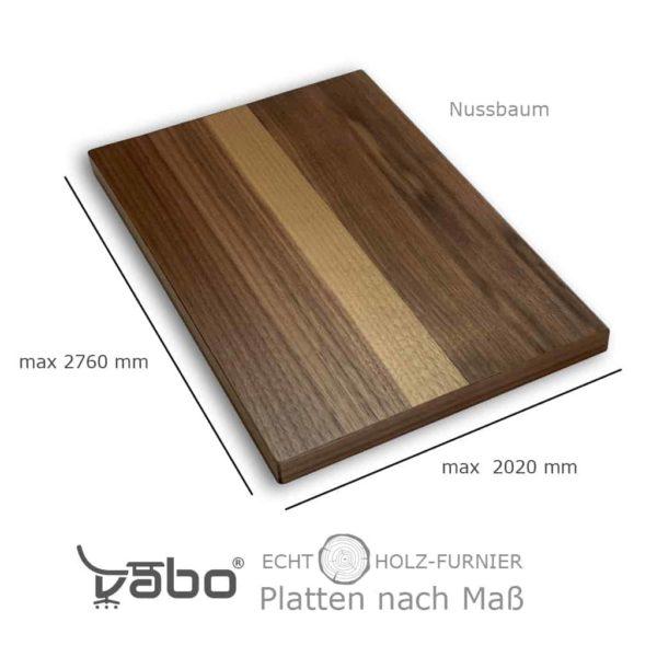 echtholz platte maß nussbaum